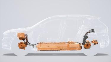 Electric Volvo XC40 powertrain diagram