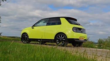 Honda e hatchback rear 3/4 static