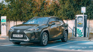 Lexus UX 300e SUV in charging bay