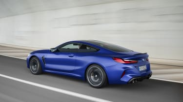 BMW M8 Competition coupe - rear 3/4 driving
