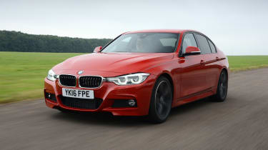 BMW 330e - front 3/4 driving