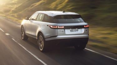 2021 Range Rover Velar P400e plug-in hybrid driving - rear view