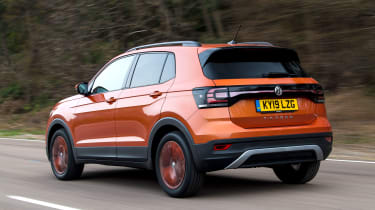 Volkswagen T-Cross SUV rear 3/4 tracking
