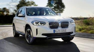 BMW iX3 SUV front 3/4 driving