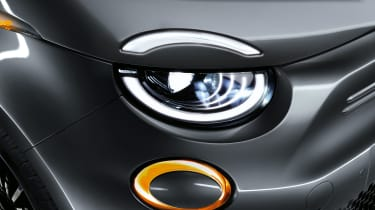 2020 Fiat 500 electric convertible - front headlights close