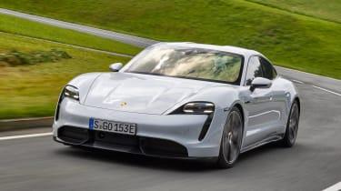 Porsche Taycan saloon on track