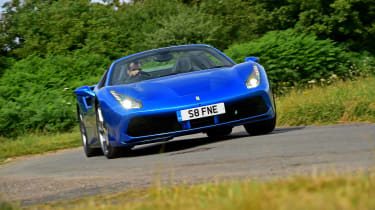 Ferrari 488 Spider convertible front action