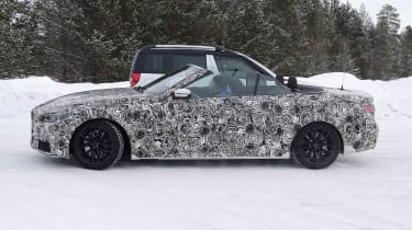 BMW 4 Series Convertible prototype - side view with roof down