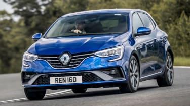 Renault Megane E-Tech hatchback front 3/4 cornering