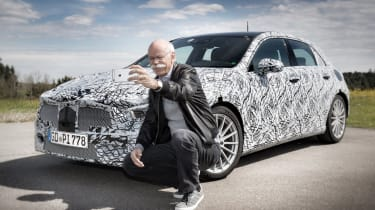 Mercedes' boss Dieter Zetsche takes a selfie with the new A-Class