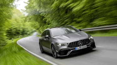 2019 Mercedes-AMG CLA 45 S Shooting Brake - front close chase view