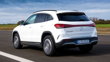 Mercedes EQA SUV review rear 3/4 driving