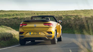Volkswagen T-Roc Cabriolet driving up hill - rear view