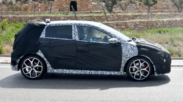 Hyundai i20 N development car - side on view