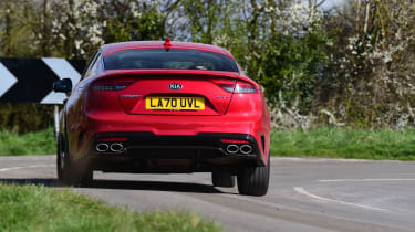 2021 Kia Stinger cornering - rear