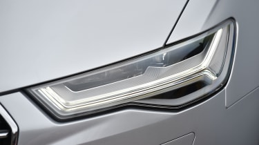Audi's distinctive LED headlights give the A6 Avant a signature look