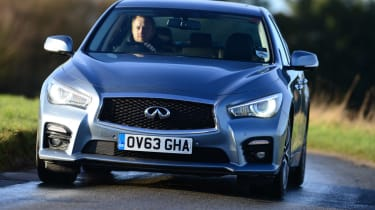The Infiniti Q50 Hybrid is fitted with a 3.5-litre V6 petrol engine and electric motor for a combined 359bhp power output
