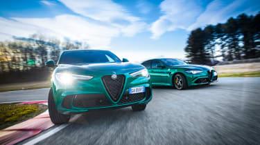 Alfa Romeo Giulia and Stelvio Quadrifoglio on racetrack