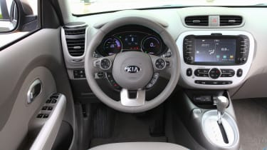 White accents lift the overall ambiance, and all Soul EVs come with sat nav