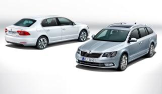 Skoda Superb 2013 front and rear hatchback and estate