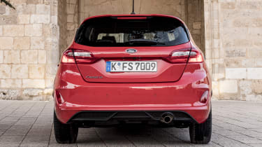 Horizontal headlamps highlight the wide hips of the latest Fiesta's design