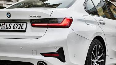 2020 BMW 330e Saloon - rear 3/4 view close up