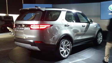 The forward-swept 'C' pillar is borrowed from the smaller Discovery Sport