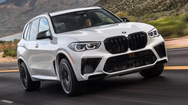 BMW X5 M SUV front 3/4 driving