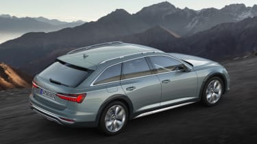 New 2019 Audi A6 Allroad estate - rear 3/4 view driving