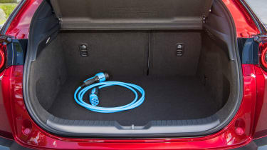 Mazda MX-30 SUV charging cable in boot