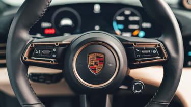 2020 Porsche Taycan - steering wheel close up