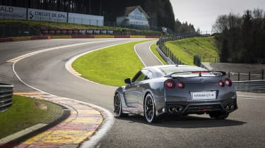 The famous 'Eau Rouge' corner at the Spa-Francorchamps race circuit is a good place to test the Nissan GT-R.