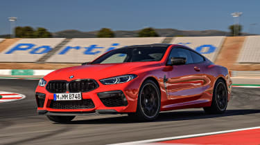 BMW M8 Competition coupe on track