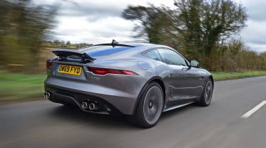 Jaguar F-Type coupe rear 3/4 tracking
