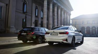 2020 BMW 330e Touring and 330e Saloon - rear 3/4 view