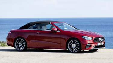 Mercedes E-Class Convertible side view - roof up