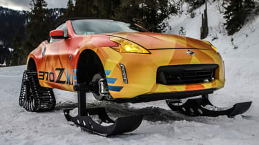 The Nissan 370Zki was created for the 2018 Chicago Motor Show, and is seen here tackling the slopes of Wyoming.