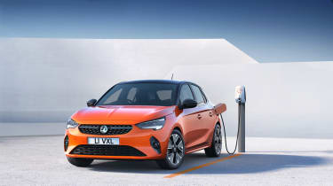 2020 Vauxhall Corsa-e - plugged in at a charging station