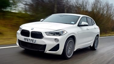 BMW X2 SUV front 3/4 tracking