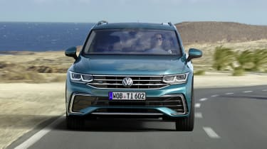 Facelifted Volkswagen Tiguan driving - front view