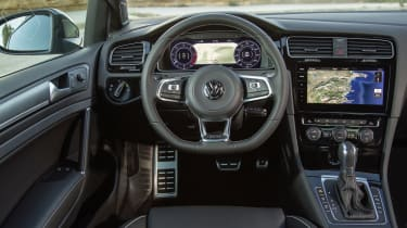 Inside, the steering wheel is beautifully shaped and a compact size makes it easy to use in energetic driving