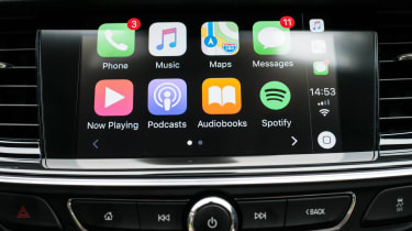An eight-inch infotainment system features DAB radio, sat nav and Apple CarPlay as standard