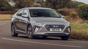 Hyundai Ioniq Hybrid review front conering