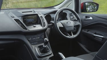 A large screen in the middle of the dash is powered by Ford's SYNC infotainment system