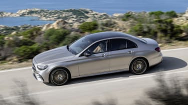 Mercedes E-Class - front 3/4 dynamic aerial