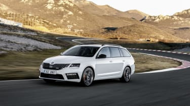 The latest Octavia vRS Estate displays the split-headlamp design that distinguishes the latest models