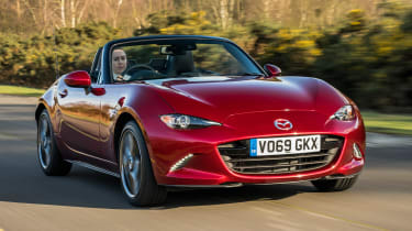 Mazda MX-5 Roadster front 3/4 tracking