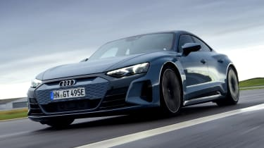 Audi e-tron GT saloon review front 3/4 driving