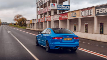 Jaguar XE Reims Edition driving - rear view