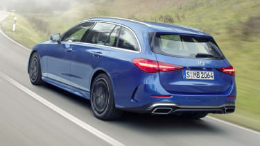 2021 Mercedes C-Class estate driving - rear
